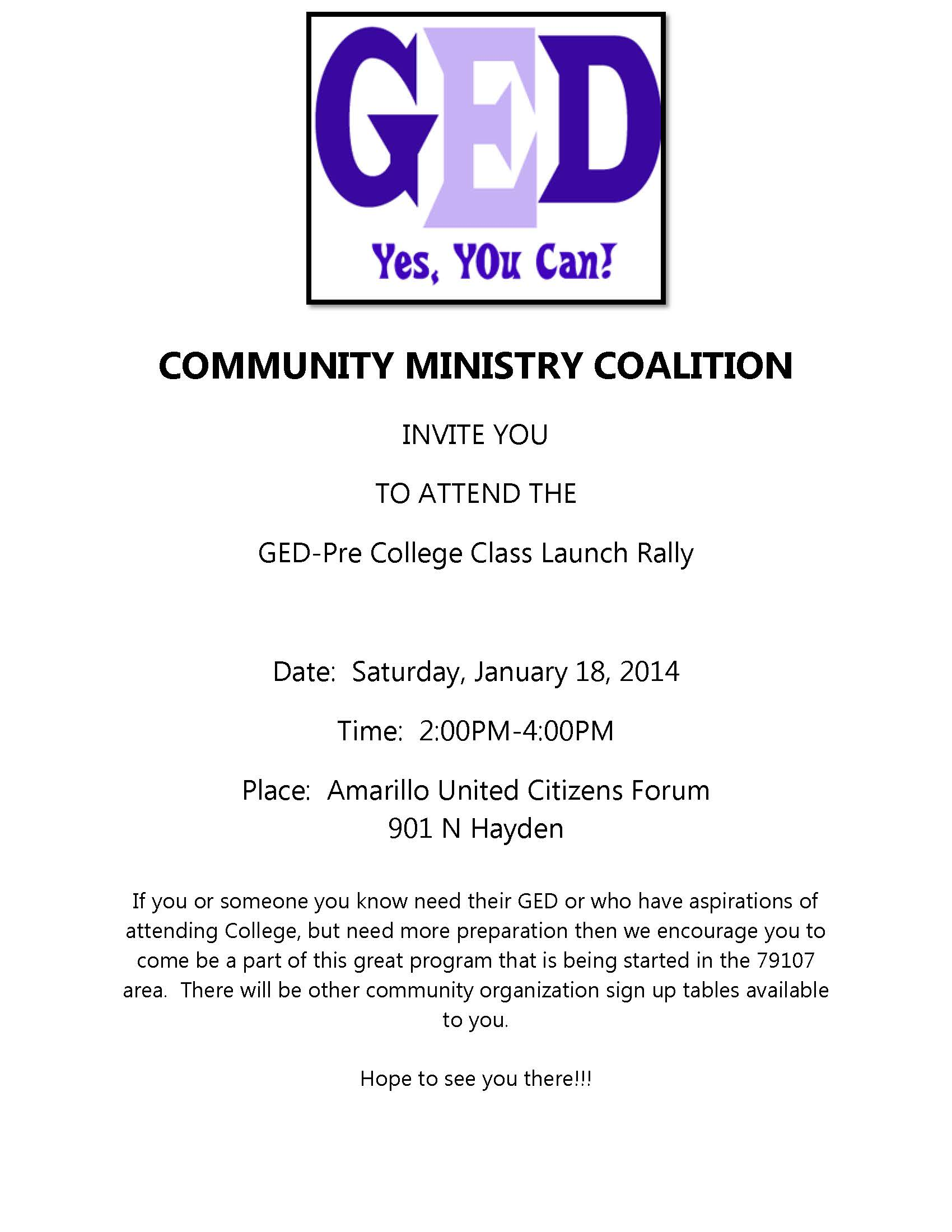 GED Launch  Rally Flyer