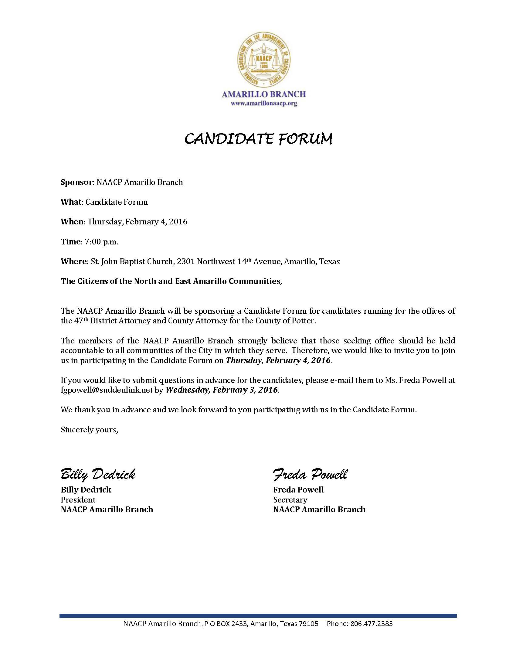 Amarillo Branch NAACP Candidate Forum--Churches 02-04-2016